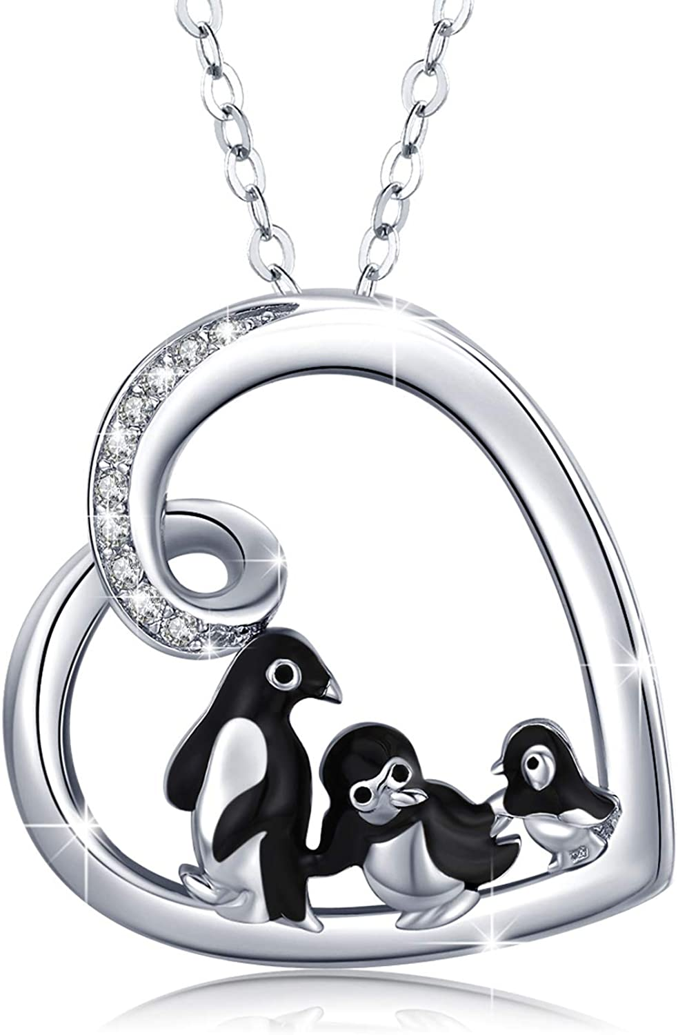 Penguin Mood Pendant on Black Cord Necklace to reveal you mood