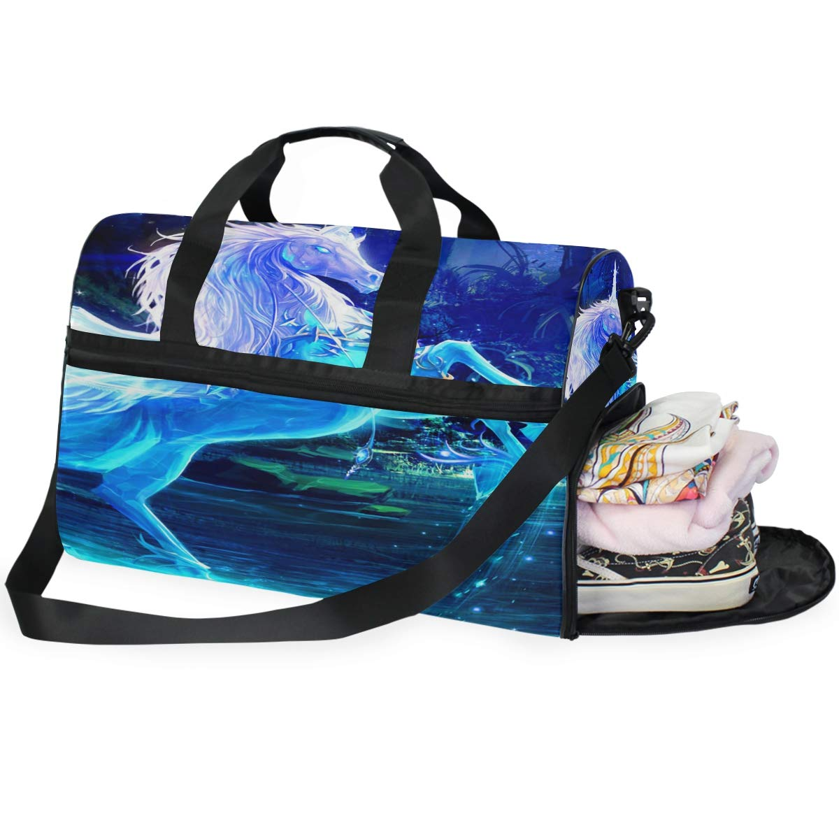 Travel Tote Luggage Weekender Duffle Bag Cute Cartoon Blue Shark Large Canvas shoulder bag with Shoe Compartment