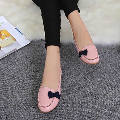 ANDAY Women Casual Non-Skid Round Toe Leather Slip On Flats Loafers Pink dKzgYupU8