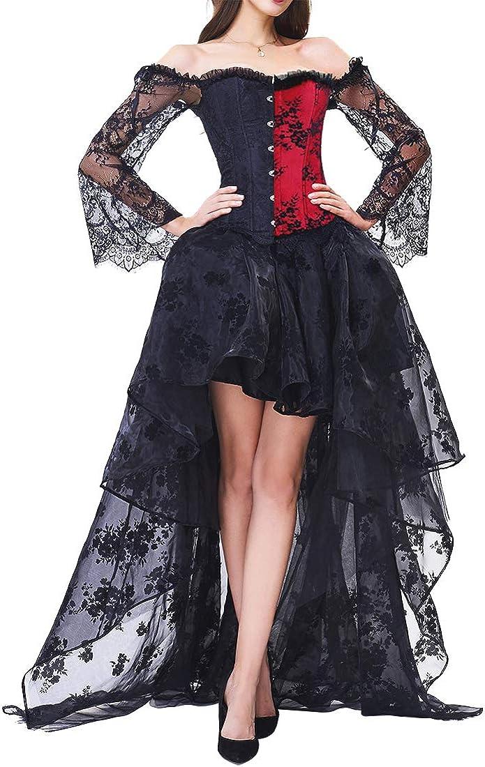 EMILYLE Donne Elegante Steampunk Corsetti Top Jacquard Bustier con Alto Basso Pizzo Gonna Costume