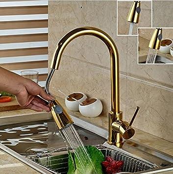 Yanhongyu Luxus Golden Handheld Herausziehen Kuche Wasserhahn Deck