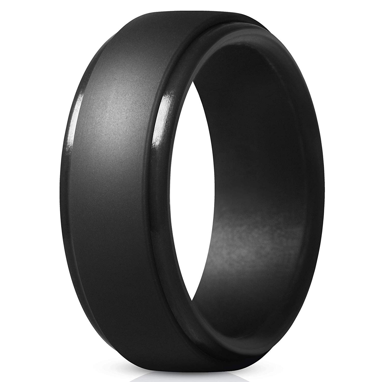 Men's Silicone Ring Wedding Band Black FSZ0002
