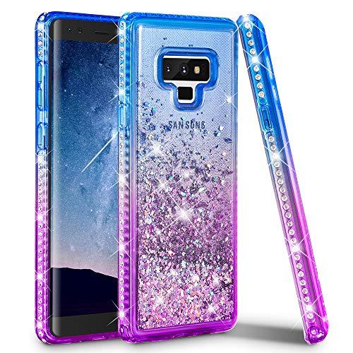 (Ruky Galaxy Note 9 Case, Galaxy Note 9 Glitter Liquid Case, Colorful Quicksand Series Premium Soft TPU Bling Diamond Women Girls Cute Case for Samsung Galaxy Note 9 (2018) - Blue&Purple)
