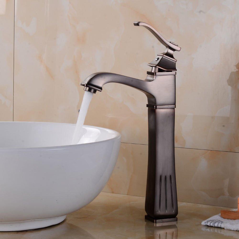 AQMMi Basin Taps Bathroom Sink Faucet Retro Hot and Cold Water Quartet 1 Hole Bathroom Sink Faucet Basin Mixer Tap