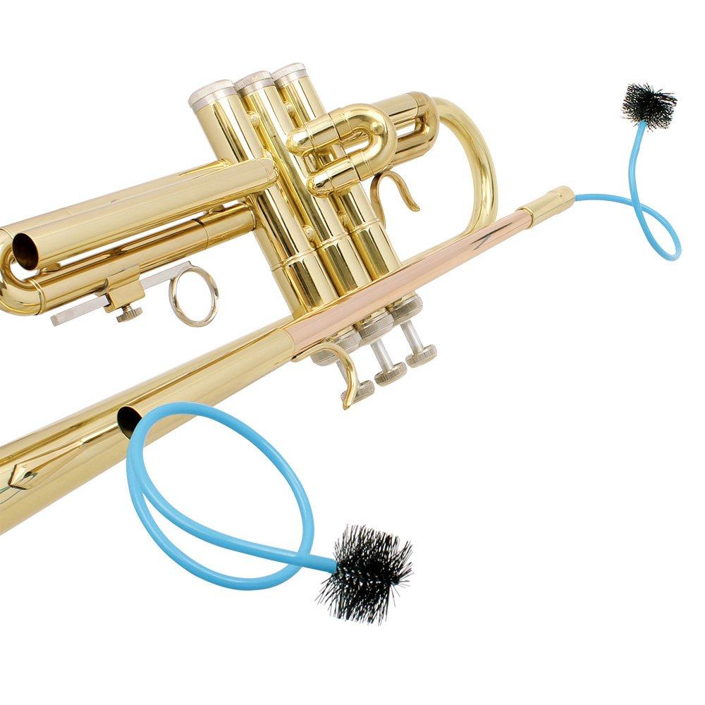 Festnight Trompeta Accesorios Mantenimiento Kit de cuidado de limpieza incluyendo cepillo de v/álvula de soporte de trompeta Cepillo de serpiente flexible Guantes de silencio