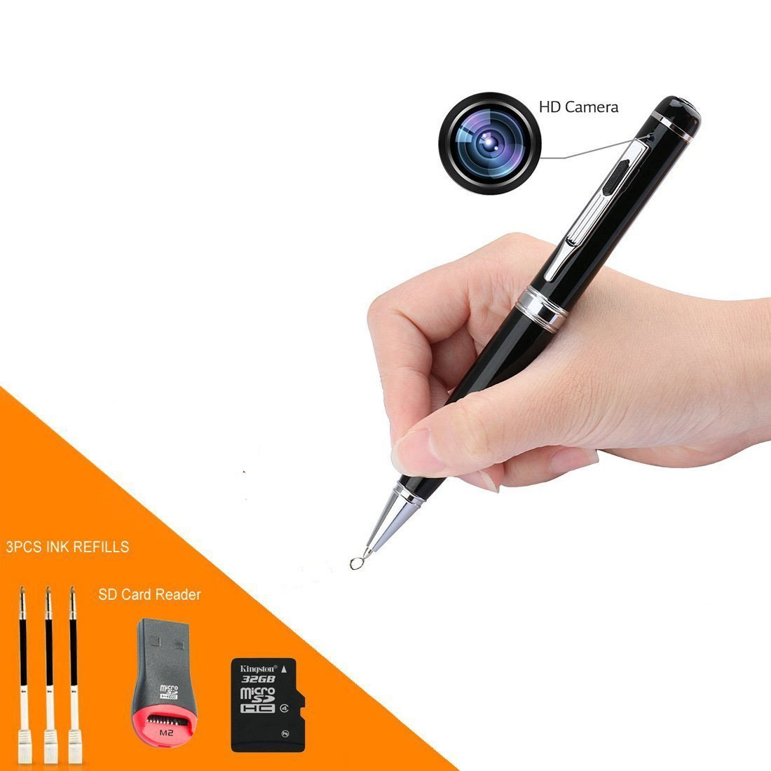 Cámara de lápiz, Spy Pen con cámara Oculta Vigilancia 1080P Full HD Hidden Pen Recorder Plug and Play para PC (32GB): Amazon.es: Bricolaje y herramientas