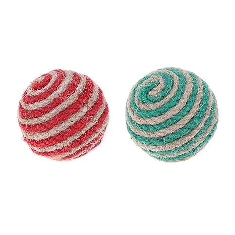 Juego de 2 bolas de sisal interactivas de juguete para gatos, juguete para masticar y