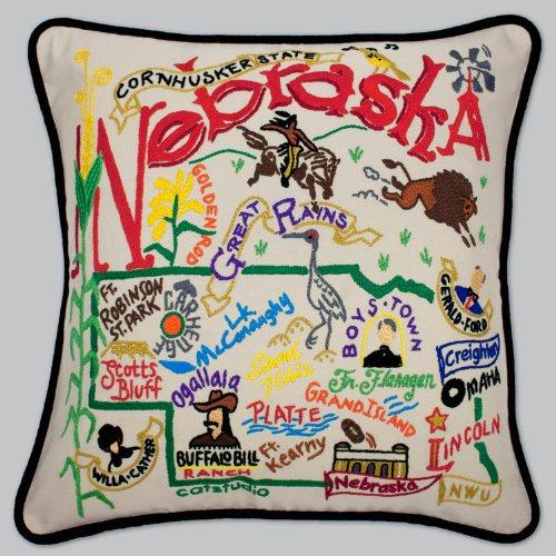 Nebraska Pillow by Catstudio Embroidered Pillow