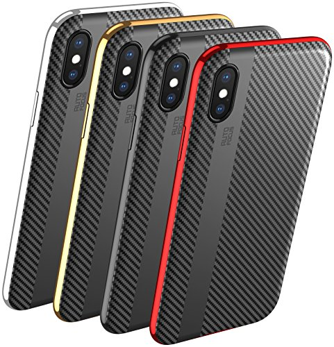 Carbon Fiber Hard Case - iPhone X XS case - iPhone x case for Men - iPhone x Cover - iPhone 8 x case - Phone case iPhone x - Cell Phone case iPhone Xs - Protective Cases Thin Hard - Wireless Luxury Carbon Fiber