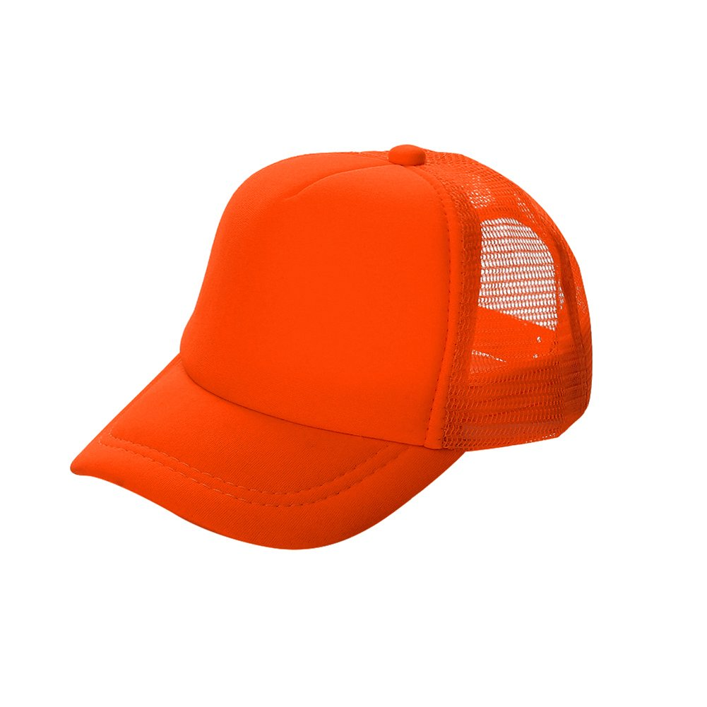 Opromo Kids Two Tone Mesh Curved Bill Trucker Cap, Adjustable Snapback, 14 Colors-Neon Orange-48 Pieces