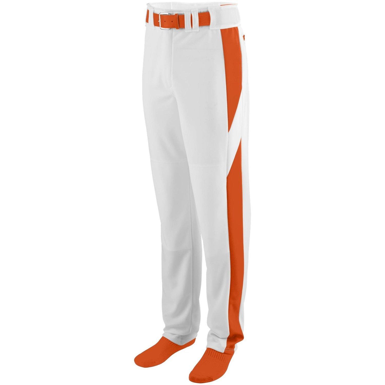 Augusta Sportswearメンズシリーズカラーブロック野球パンツ B00P545A5Q Large|ホワイト/オレンジ ホワイト/オレンジ Large