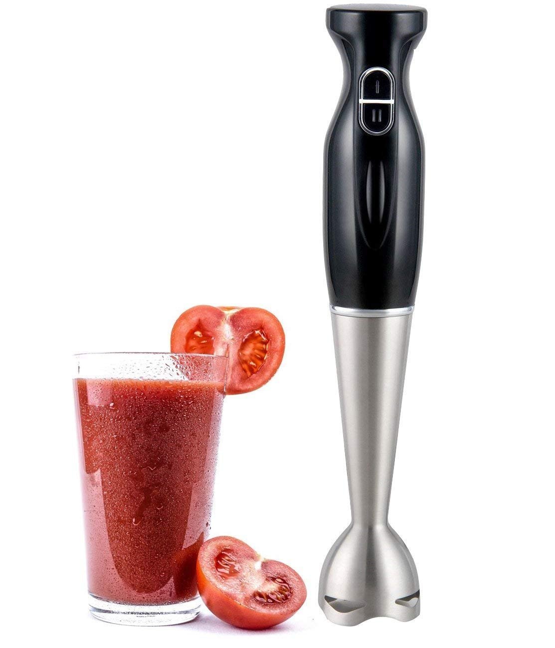 Alpine Cuisine Hand Blender 300 watt with 2 speed Stainless Steel Immersion Blender with Detachable, Multi Purpose Mixer, Whisk & Chopper, Juicer, Smoothie and Gym Protein Shaker