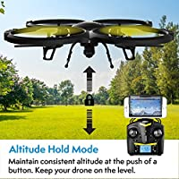 Force1 UDI U818A Wifi FPV Drone For Adults & Kids With HD Camera, VR Headset & Altitude Hold - Extra Battery Included by UDI RC