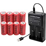 Rechargeable 16340 CR123A Battery, Veeki 16340 RCR123A 3.7V 650mAh Protected Li-ion 16340 Batteries for High Drain Device (8pc+charger)