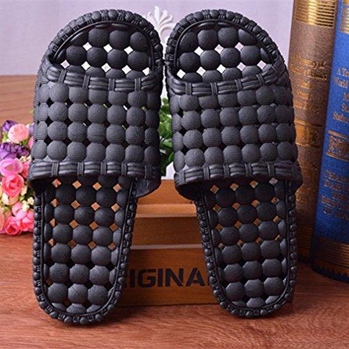 for Slip Unisex Bubble Shoes SAMSAY Bathroom Non Indoor Massage Men Shower Slipper Black 1WFPwqY