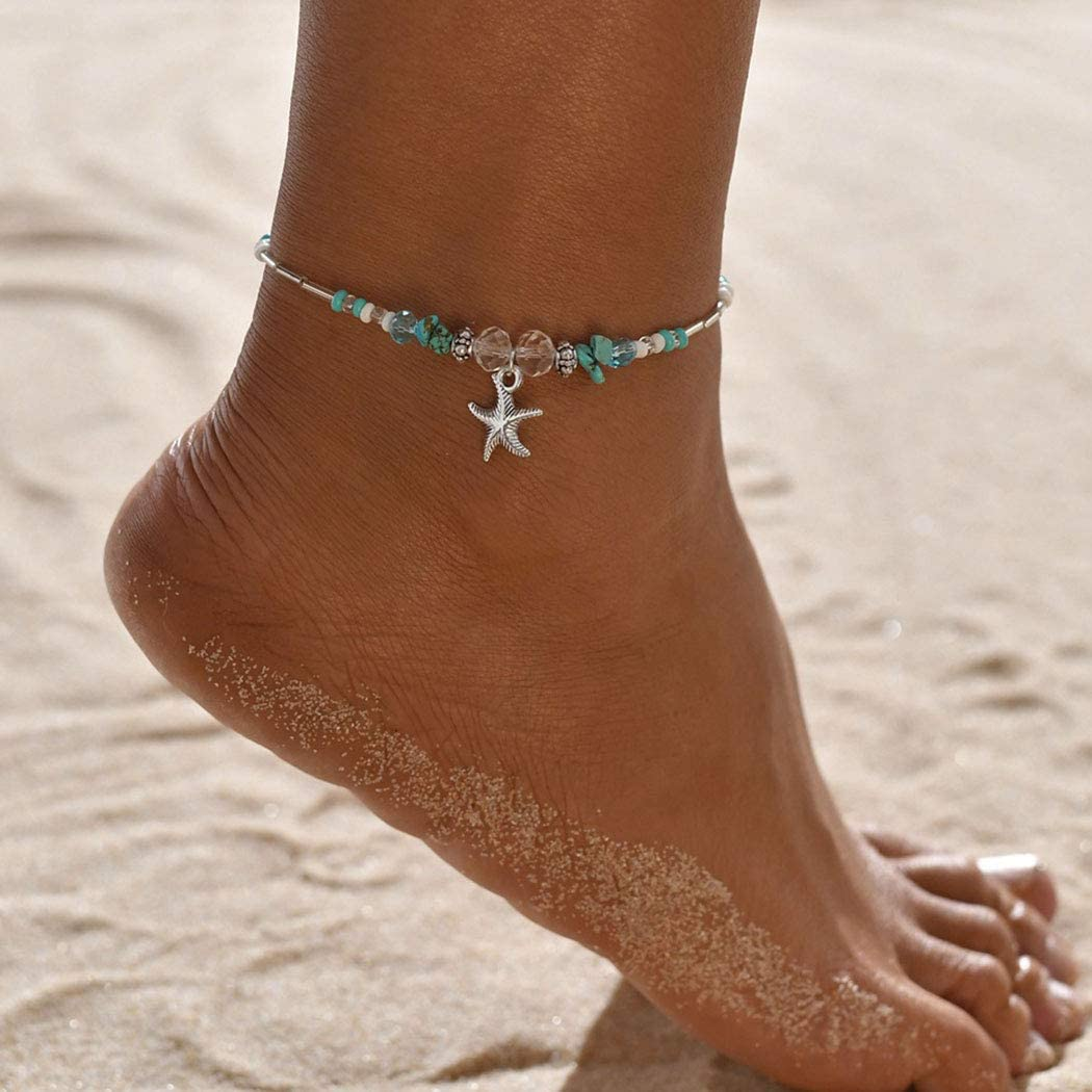 Gortin Boho Starfish Anklets Turquoise Beadeed Ankle Bracelets Crystal Beach Foot Jewelry Adjustable Foot Chain for Women and Girls