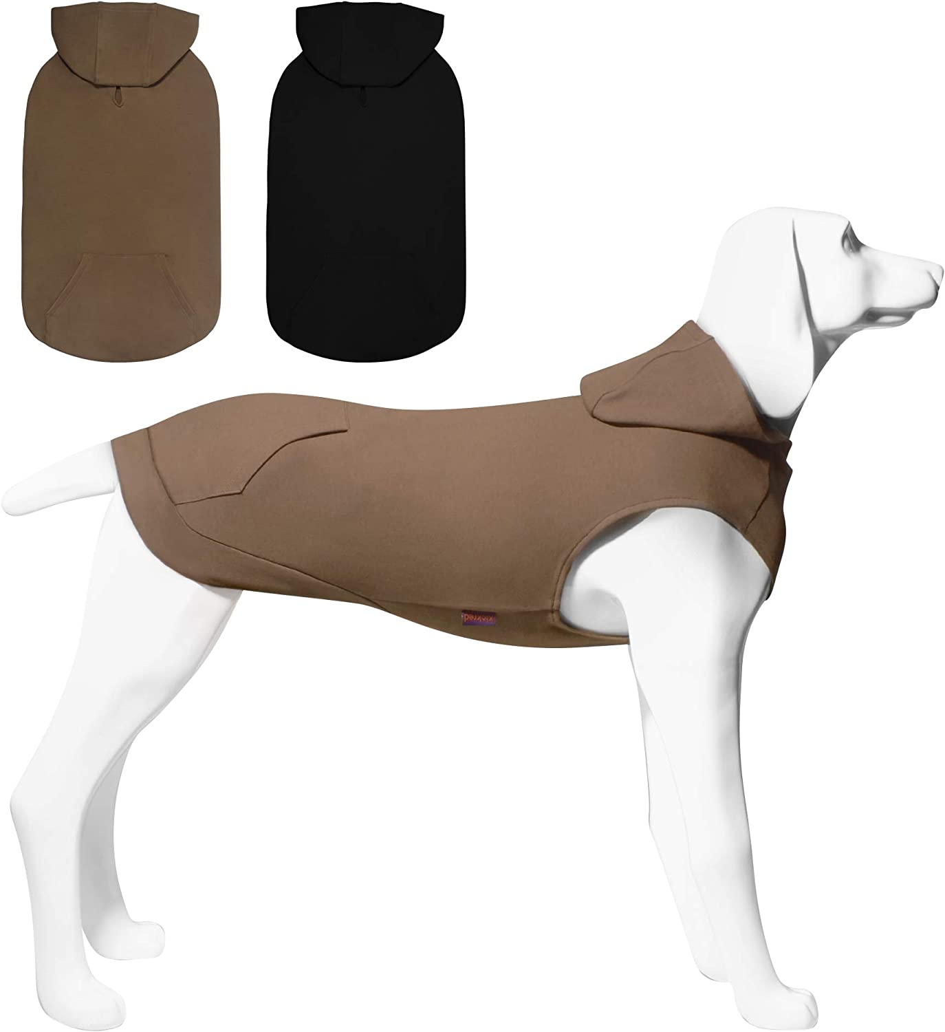 Kickred 2 Pieces Dog Hoodie Sweaters, Spring Dog Vest Sweatshirt with Hat & Pocket & Leash Hole, Basic Pet Clothes Hoodies for Small Medium Large Dogs