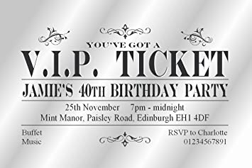 50 personalised birthday party invitations card vip ticket invites 50 personalised birthday party invitations card vip ticket invites 18th 21st 30th 40th 50th filmwisefo