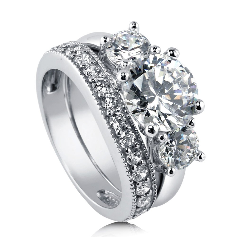 BERRICLE Rhodium Plated Sterling Silver Cubic Zirconia CZ 3-Stone Engagement Ring Set Size 8