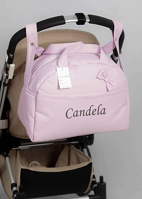Nombre beb/é bordado Bolso Polipiel Carrito Bebe Personalizado con nombre bordado Kona ROSA