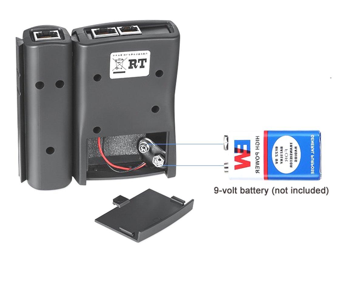 black Tri-Elt Network Cable Tester LAN RJ45 RJ11 Cat 5 Ethernet Line Tool Internet Broadband Connection Speed Capability Test