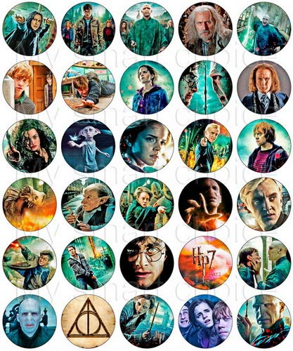 Harry Potter Cake Decorating - 30 x Edible Cupcake Toppers - Harry Potter Deathly Hallows Themed Collection of Edible Cake Decorations | Uncut Edible Prints on Wafer Sheet