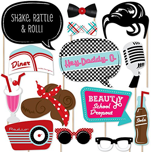 Big Dot of Happiness 50's Sock Hop - 1950's Rock N Roll Party Photo Booth Props Kit - 20 Count]()
