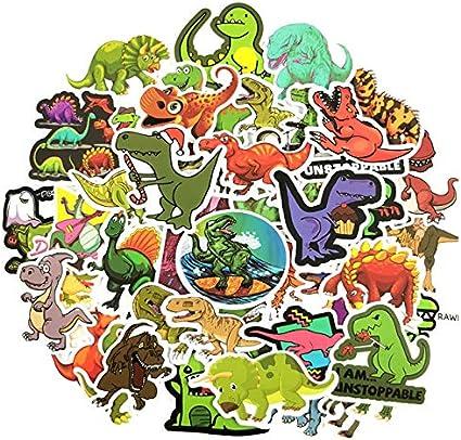 DZCYAN 50PCS/Set Cartoon Dinosaur Stickers Jurassic World Laptop Skateboard Luggage Scrapbook Graffiti Waterproof Sticker Pack Kid Toys: Amazon.es: Coche y moto