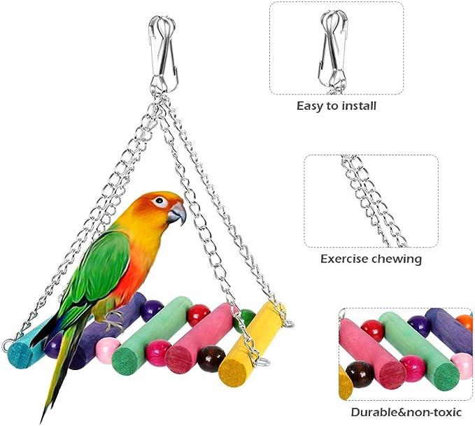 Dightyoho 6pcs Juguetes Coloridos para Pájaros en Juala, con Columpio y Campana, Juguetes para Masticar para Loros Agaporni Yacos Periquitos: Amazon.es: Productos para mascotas