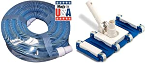 Poolmaster 33430 Heavy Duty In-Ground Pool Vacuum Hose with Swivel Cuff, 1-1/2-Inch by 30-Feet,Neutral & Swimline Weighted Flex Vacuum Head, Blue