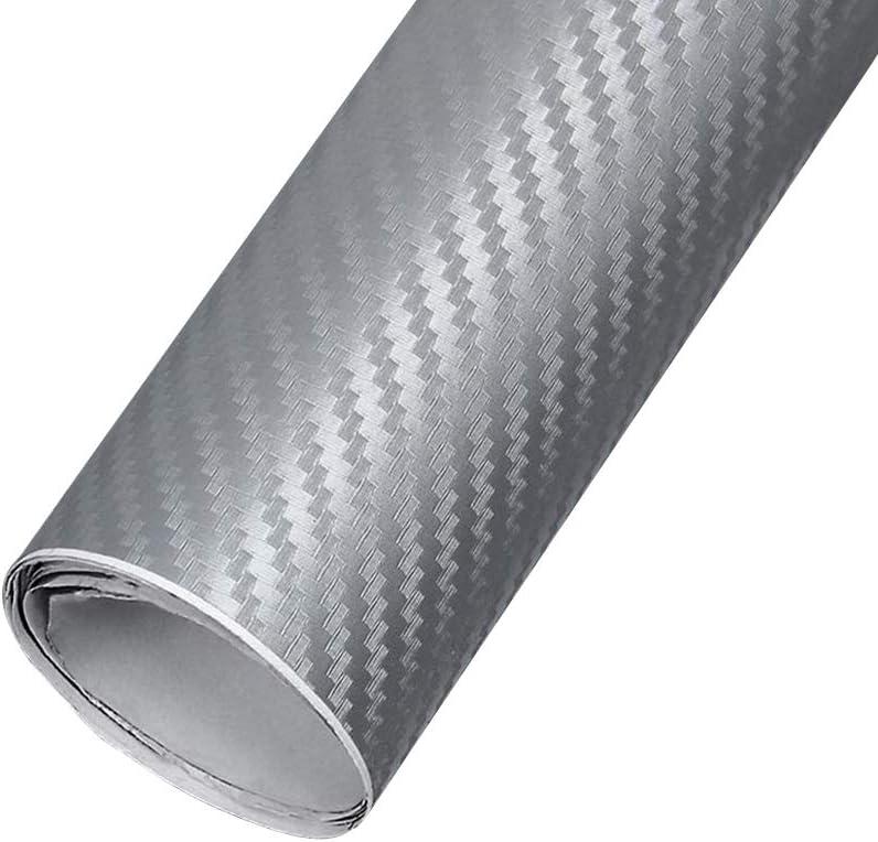 el 200x30cm Blanco Pel/ícula de Vinilo de Fibra de Carbono Textura peque/ña 3D Envoltura de Alto Brillo Auto Auto Adhesivo Hoja de calcoman/ías XUPHINX Coche Cambio de Color Pegatina