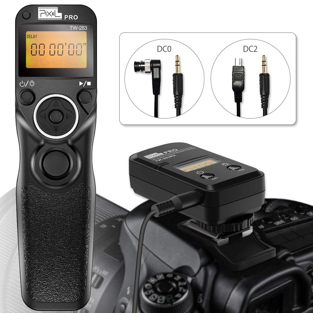 Remote Shutter Release for Nikon, Wireless Shutter Release Timer Remote Control Pixel TW-283 DC0/DC2 for Nikon D5200 D5300 D7100 D850 D800 D750 D610 by PIXEL