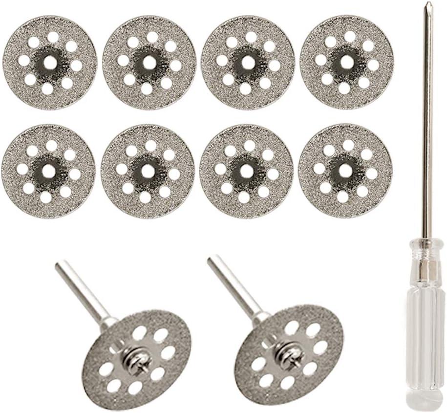 Rueda De Corte de Diamante, 10 Piezas 22 mm Mini Diamante Sierra Hoja de Corte Disco Rueda Set Con Mandril (3 Mm) y Destornillador Para Dremel Rotary Herramientas Cristal Gemas de Corte Discos