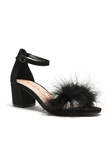 0b878866ff1df Herstyle Women's Brenleey. Suede faux feather, accent ankle strap