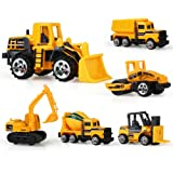 TQP-CK 6 Set Kids Metal Construction Vehicles Engineering Car Bulldozer,Unloader,Excavator,Forklift,Roller,Tanker for Kids Age 3+