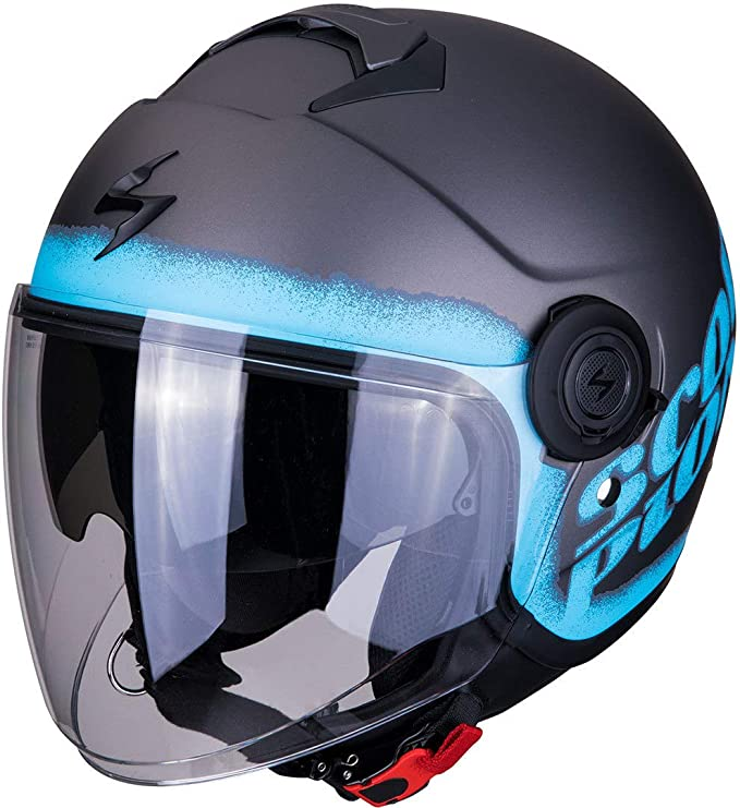 Scorpion Exo City Blurr Motorcycle Helmet Matt Silver Blue Blue Grey M Auto