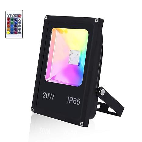 20W RGB Fluter LED Farbwechsel Flutlicht Außen Strahler mit Fernbedienung IP65