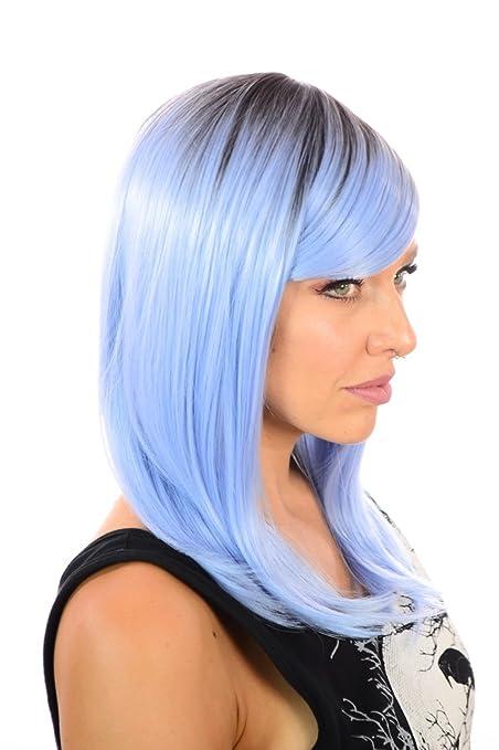 Nikki hombro longitud recta de color moda peluca   Sweeping flecos   cuatro Rooted Pastel colores