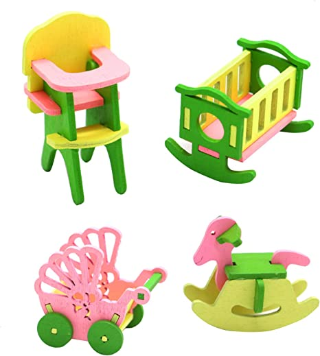 Toys Dollhouse Bedroom Accessories Cribs Miniature Dollhouse Toy Rocking Crib