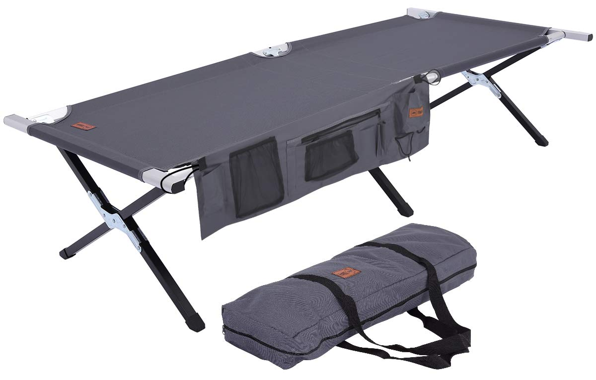 Tough Outdoors Camping Cot – Folding Military Army Camp Bed for Adults – Portable Heavy-Duty Sleeping Cots for Camping, Hunting Backpacking – Foldable – Free Organizer Storage Bag
