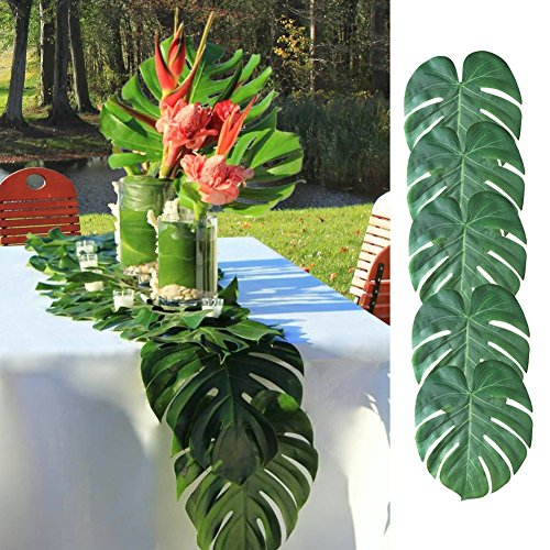 One-heart 36 Psc Tropical Fake Palm Leaves 13.8 by 11.4 Inch Palm Leaves Decorations for Hawaiian Luau Party Jungle Beach Theme Party Supplies Table Decor Accessories