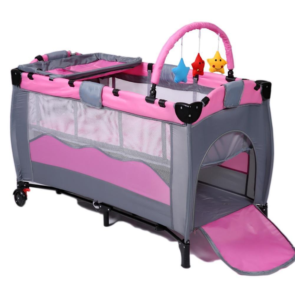 YINGER Krippe Hohen Konfiguration Zusammenklappbar Spiel Betten Baby-Bett Doppelzimmer design Reisen Sie mit Baby Laufstall Krippe