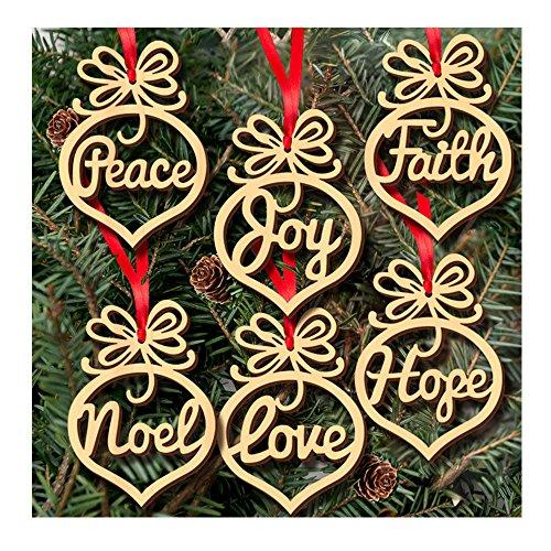 Merry Christmas Heart - Alinay 6pcs Christmas Tree Deco Wooden Word Peach Heart Ornaments