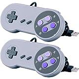 Pacote com 2 Joystick SNES Super Nintendo Joypad Gamepad Controle USB para Windows Linux USB MAC Emulador Znes Padrão SNES Su