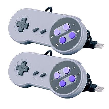 2 Packs USB Controller for Classic Super Nintendo NES SNES, USB Famicom  Controller Joypad Gamepad for Laptop Computer Windows PC / MAC / Raspberry  Pi