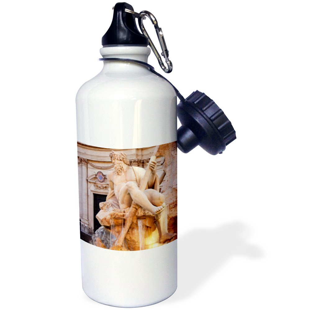 3dRose wb_137600_1 ''Berninis Fountain, Piazza Navona, Rome, Italy EU16 BJN0129 Brian Jannsen'' Sports Water Bottle, 21 oz, White