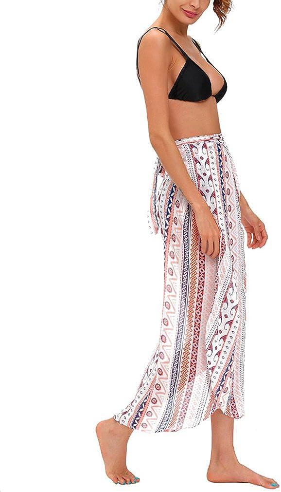 Womens Summer Floral Printed Chiffon Asymmetric High Waist Boho Split Ethnic Maxi Skirt Wrapped Beach Cover Up