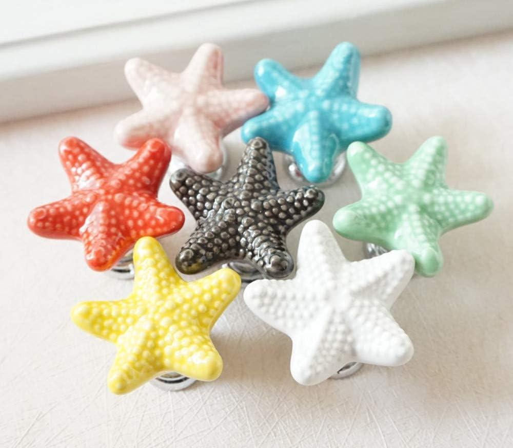 Bleu ZTZT Boutons en c/éramique de commode color/és Boutons de meuble de tiroir Starfish Boutons de placard de cuisine Poign/ée d/écorative Rouge Rose Jaune