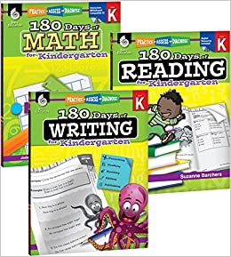Amazon.com: 180 Days of Practice for Kindergarten (Set of 3 ...