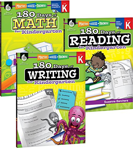 180 Days of Practice for Kindergarten (Set of 3), Assorted Kindergarten Workbooks for Kids Ages 4-6, Includes 180 Days of Reading, 180 Days of Writing, 180 Days of Math